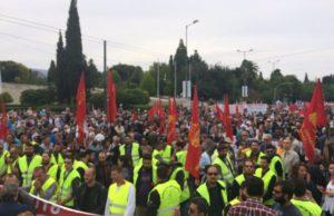 En till bild från PAME:s demonstration utanför parlamentet